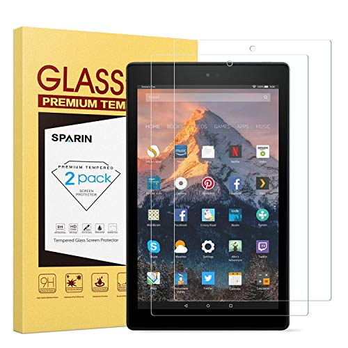 [2-Pack] All-NEW Fire HD 10 Screen Protector, SPARIN Tempered Glass Screen Protector for All-New Fire HD 10(9th / 7th, 2019 / 2017 Released) and Fire HD 10 Kids Edition(2019 / 2018 Released)