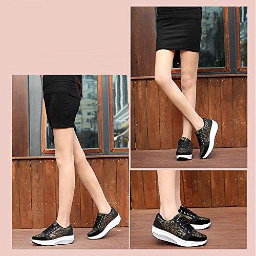 Scarpe Ginnastica Sneaker Dimagrante Cunei Piattaforma nero Fitness Donne Scarpe Passeggio Scarpe amp; QZBAOSHU 2 01qt4wU5