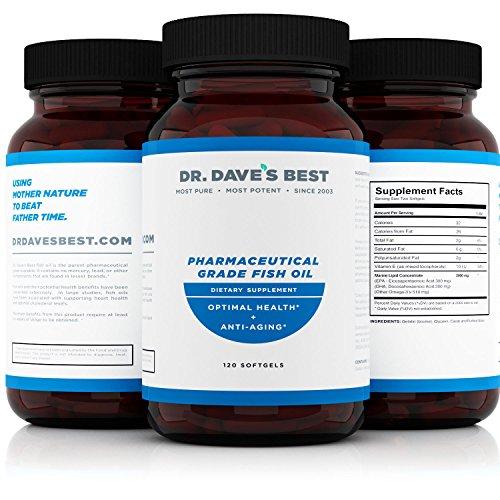 Dr. Dave's Best Omega 3 Pharmaceutical Grade Fish Oil |1000 mg Marine Lipid Omega 3 | 300 mg EPA | 200 mg DHA Per Liquid Softgel Capsule | Contains Vitamin D
