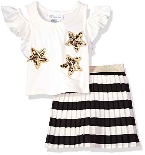 Sequin Pleated Skirt White (Bonnie Jean Little Girls' Top and Skirt Set, Stars, 6)