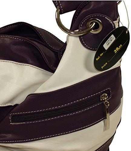 Damenhandtasche Shopper Bag Kunstleder Tasche 2 farbig Lederoptik Neu 7053 (Rot) Purple
