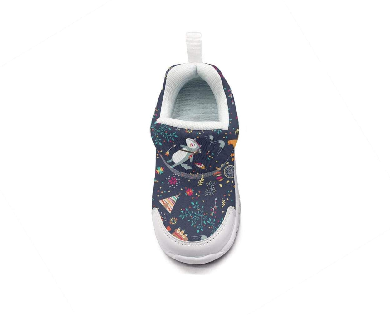 ONEYUAN Children Tribal Animals wold Fox Bear Floral Kid Casual Lightweight Sport Shoes Sneakers Walking Athletic Shoes