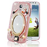 Mavis's Diary Fashion Mirror Pearl Flower Design Bling Hard Cover Case with Soft Clean Cloth (Samsung Galaxy S4 9500 9505 M919, Pink)
