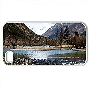 awesome river valley - Case Cover for iPhone 4 and 4s (Rivers Series, Watercolor style, White)