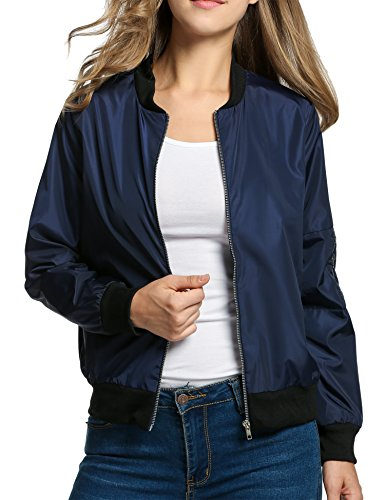 Eleven Costume (HOTOUCH Women's Solid Zip Flight Bomber Jacket Zipper Navy Blue XL)