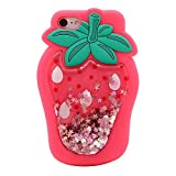 For iPhone 6S / iPhone 6 4.7 inch Case, SevenPanda Soft Silicone Strawberry Liquid Glitter Flowing Sparkling Paillette Star Bling Fashion Ultra Strong Flexible Shockproof Cute Girl - Rose Red