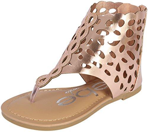 bebe Girls Gladiator Thong Sandal, Rose Gold, 9 M US Toddler'