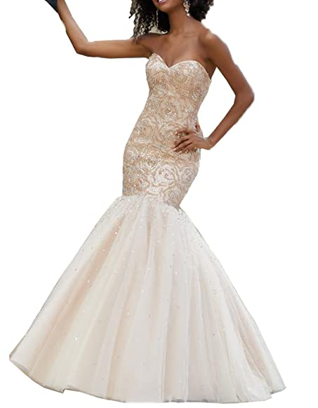 Nicefashion Sweetheart Corset Mermaid Prom Dress With Floral Beaded ...