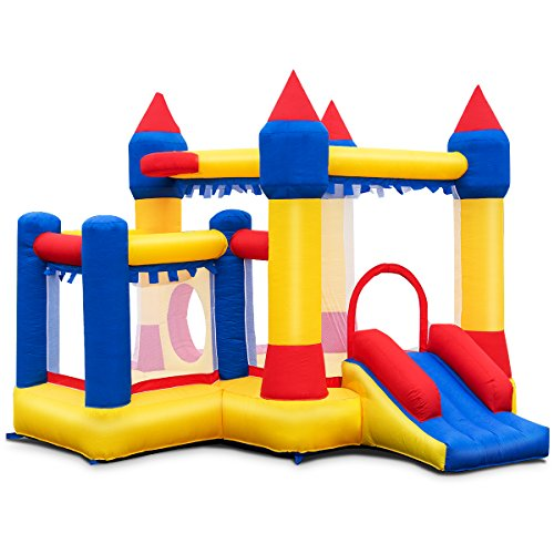 Costzon Inflatable Bounce House, Castle Jumper Slide Mesh Walls, Kids Party Jump Bouncer House w/Net, Carry Bag Without Blower (Castle)