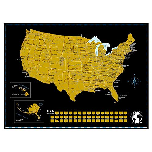 (Scratch Off Map of The United States of America with State Flags on Black Background, 24
