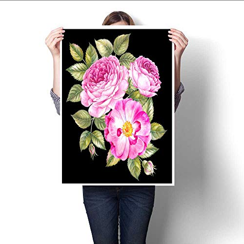 The Picture For Home Decoration Vintage bouquet of blooming roses Watercolor botanical illustration of a rose Postcard for congratulations wedding or invitation Textile design on a black background C