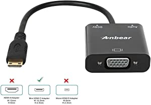 Anbear Mini HDMI to VGA Adapter, Gold Plated Mini HDMI to VGA(Male to Female) 1080p Video Converter Adapter with 3.5mm Audio