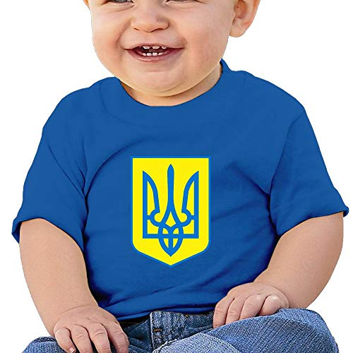Kuswaq Coat of Arms of Ukraine Cotton Baby Short Sleeve Clothes Baby Clothes T-Shirt RoyalBlue 24 Months