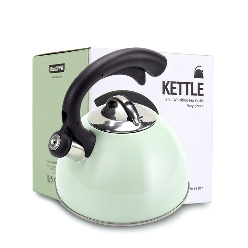 ROCKURWOK Stainless Steel, 14-cup Stovetop Whistling Tea Kettle,2.63-Quart, Fizzy Green