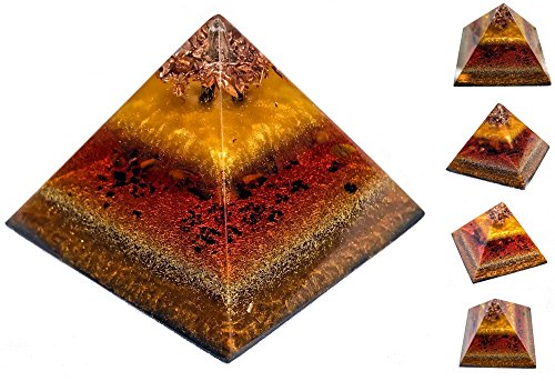 Shungite Orgonite Pyramid / Orgone Generator / EMF Protection Energy Healing Tool (Art Copper Wall Flames)