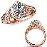 1.25 Carat G-H Diamond Fancy Designer Filigree Starburst Victorian Engagement Ring 14K Rose Gold