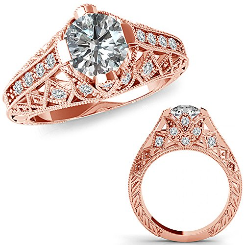 Victorian Rose Cut Diamond - 1.25 Carat G-H Diamond Fancy Designer Filigree Starburst Victorian Engagement Ring 14K Rose Gold