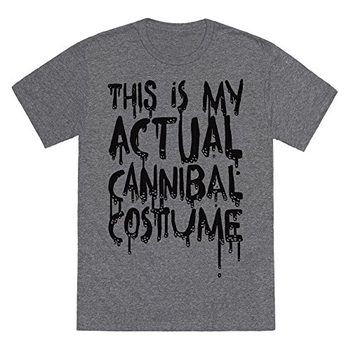 LookHUMAN This is My Actual Cannibal Costume Heathered Gray Medium Mens/Unisex Fitted Triblend Tee -