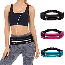 Running Belt for Man Women, Runners Belt Water Resistant Waist Pouch Phone Holder Adjustable Workout Pack with Headphone Port