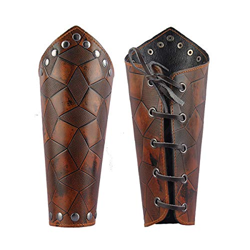 GelConnie Leather Gauntlet Wristband Medieval Bracers Viking Wrist Guards Archery Guards Bracers Wide Arm Armor Cuff for Women Men Halloween Renaissance Costume Props ()