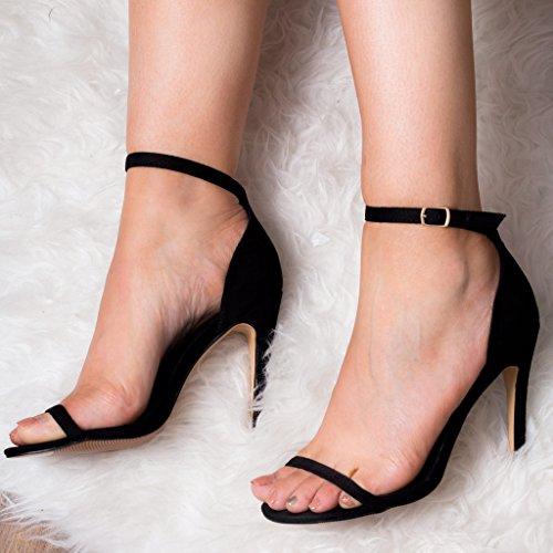 Femmes Simili Spylovebuy Boucle À Noir Talon Pretty Ajustable Sandales Daim Aiguille zzfrn5q