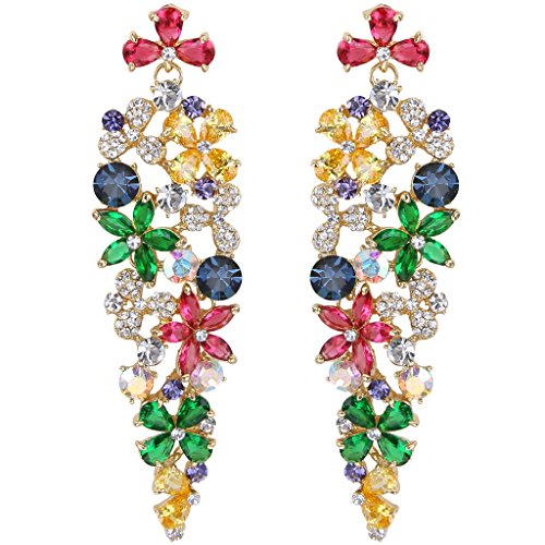 Z Elegant Hibiscus Flower Cluster Pierced Dangle Earrings Multicolor Gold-Tone (3 Stone Cluster Earrings)