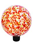 Russco III GD137142 Glass Gazing Ball, 10'', Red Spots