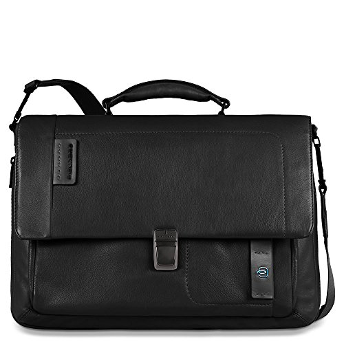 Piquadro Flap Over Expandable Computer Messenger Bag, Black, One Size by Piquadro