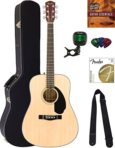 Acoustic Dreadnought Natural - Fender CD-60S Dreadnought Acoustic Guitar - Natural Bundle with Hard Case, Tuner, Strap, Strings, Picks, Austin Bazaar Instructional DVD, and Polishing Cloth