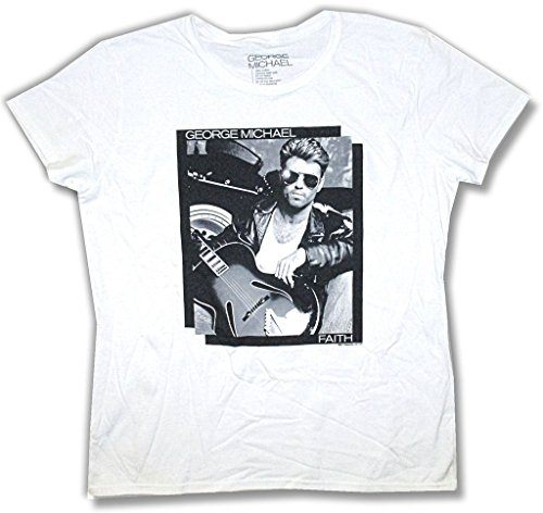 (George Michael Negative B&W Pic Faith Girls Juniors White T Shirt (L))