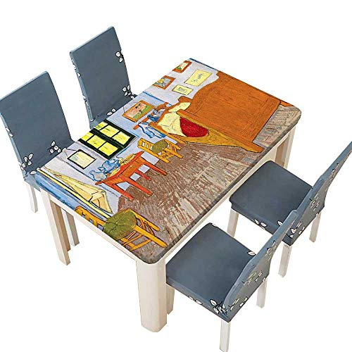 (PINAFORE Tablecloth Waterproof Polyester Table Rustic Van Gogh Oil Painting Reproduction atorsations Tablecloth for Wedding/Party W25.5 x L65 INCH (Elastic Edge))