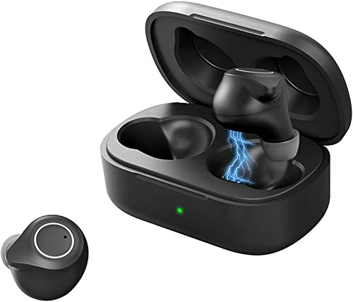 Anmino True Wireless Earbuds Bluetooth 5.0 Earbuds with Qualcomm chip,in-Ear Headphones for Sport with Charging case,One Step Pairing CVC8.0 Noise Reduction TWS Stereo Earphones Black