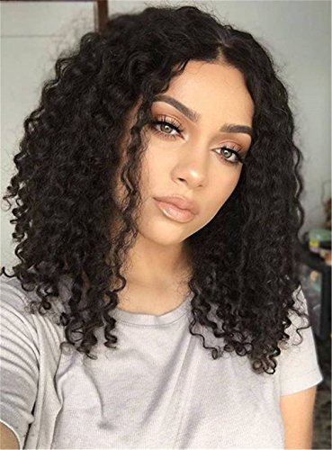 Search : Center Part Kinky Curly Medium Synthetic Hair Bob For Round Face African American Wigs