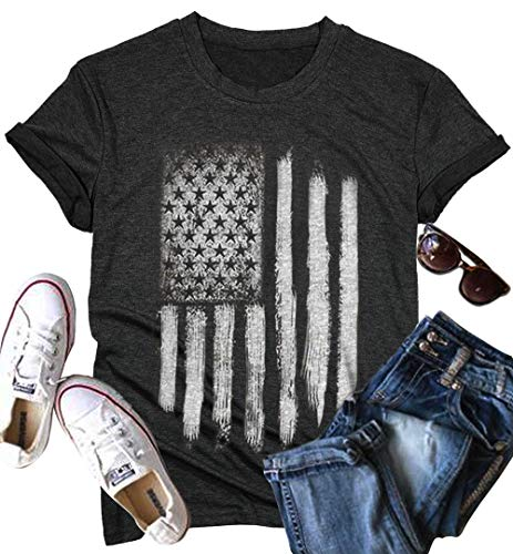 White Distressed American Flag Star Stripe Shirt Burnout Tees for Women USA Flag 4th of July Patriotic Graphic Tops (Large, Grey)