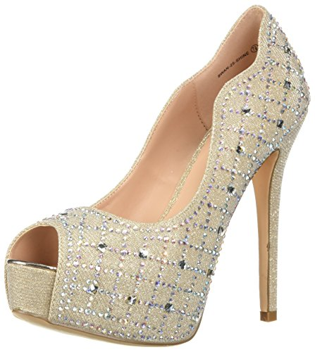 DREAM PAIRS Women's Swan-25-Shine Pump, Shine-Gold, 8 M US