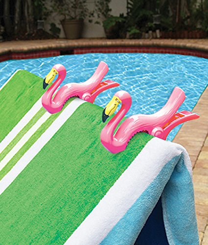 Flamingo BocaClips by O2COOL Beach Towel Holders Clips Set of two Beach Patio or Pool Accessories Portable Towel Clips Chip Clips Secure Clips Assorted Styles