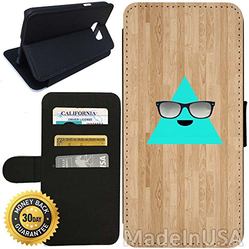 Flip Wallet Case for Galaxy S7 (Cool Triangle with Sunglasses) with Adjustable Stand and 3 Card Holders | Shock Protection | Lightweight | Includes Stylus Pen by - Ebay Coach Sunglasses