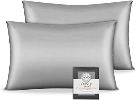 Both Sides 19mm Charmeuse Gift Box 1pc Black 40x60cm OLESILK 100/% Mulbery Silk Pillowcase with Hidden Zipper for Hair and Skin