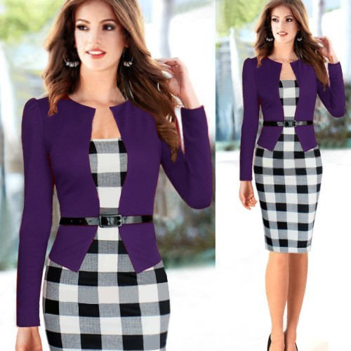 Minetom Affaires Pour Tunique le des Moulante Pencil Travail Femmes Vintage Party Grille Bodycon Bureau Cocktail Robes Violet HRwgqR0rU