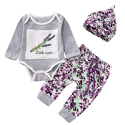 Borlai Toddler Baby Set Lavender Cotton Long Sleeve Romper + Floral Pants + Hat 3pcs, Light Grey + Purple, 0-3 Month