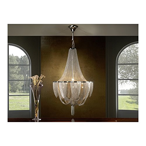 Schuller Spain 872941I4L Traditional Chrome Ceiling Chandelier ceiling chandelier lights Nickel 12 Light Dining Room | ideas4lighting by Schuller