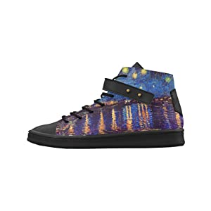 Shoes No.1 Women's Sneakers Lyra Round Toe High-top Shoes Van Gogh Starry Night Over Rhone For Outdoor