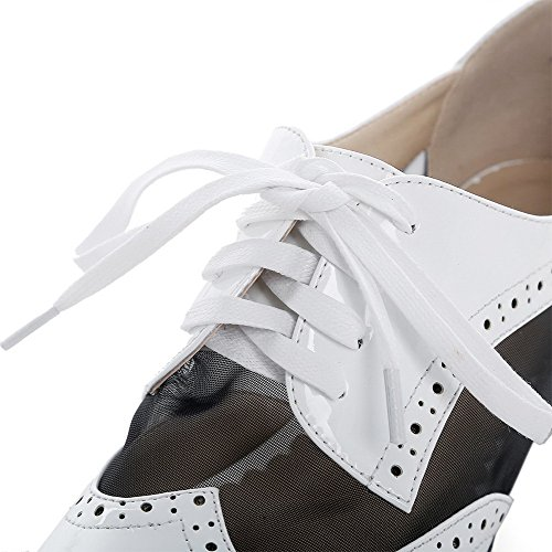Toe Hollow Assorted with Pumps Leather Color Shoes Color Assorted Women's and Closed White WeiPoot Out Patent nWqOU4wzY