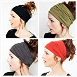 Women's Headband for Yoga Super Comfortable Sport Athletic Headband For Running Travel Fitness Elastic Headscarf fits all Men & Women, Set of 4