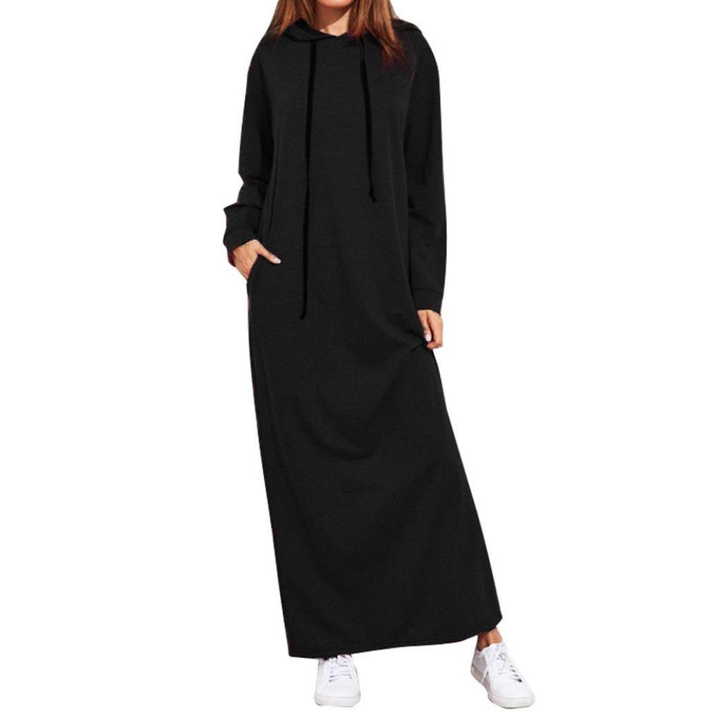Women Long Dress Daoroka Ladies Hooded Loose Casual Maxi Skirt With Pocket Long Sleeve Beach Floor-Length Sundress (L, Black)
