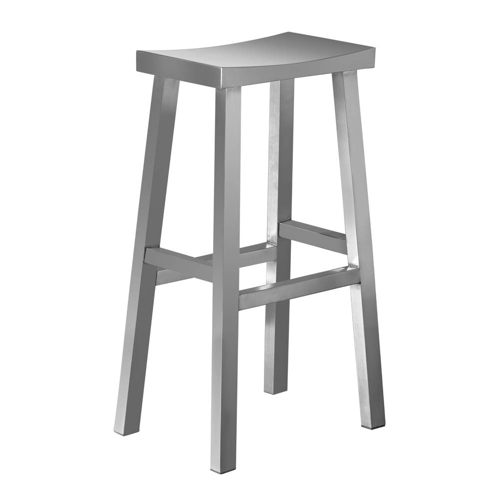 IRICA Stainless Steel Saddle Seat Bar Stool, Commercial Quality, Satin Brushed Finish, 30 inches Seat Hgt, Indoor Porch Use, 1 Pack by IRICA