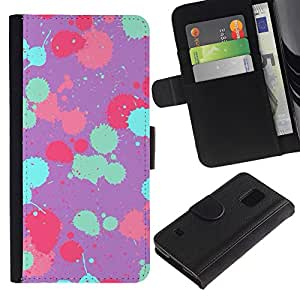 Billetera de Cuero Caso Titular de la tarjeta Carcasa Funda para Samsung Galaxy S5 V SM-G900 / Teal Pink Purple Paint Pattern / STRONG
