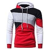 Hoodie for Men Clearance -Ankola Mens' Long Sleeve Patchwork Hoodie Hooded Sweatshirt Tops Jacket Coat Outwear (XL, Red)