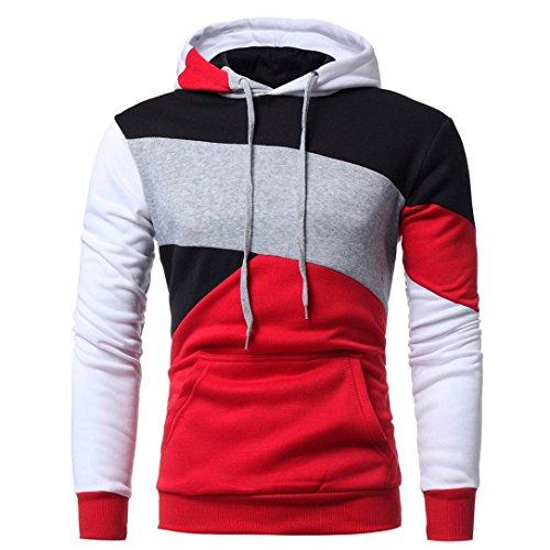 Hoodie for Men Clearance -Ankola Mens' Long Sleeve Patchwork Hoodie Hooded Sweatshirt Tops Jacket Coat Outwear (XL, Red) by Ankola-Men's Hoodie