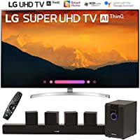 LG 55SK9000PUA 55-Class 4K HDR Smart LED AI Super UHD TV w/ThinQ (2018 Model) with Sharper Image 5.1 Home Theater System w/Subwoofer, Sound Bar & Satellite Speakers